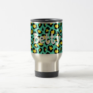 Teal Animal Print Travel Mug