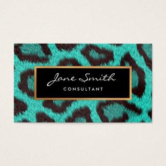 Teal Animal Skin, Leopard, faux Gold Foil Business Card