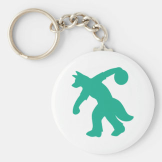 Teal Anthro Canine Bowling Keychain 0001