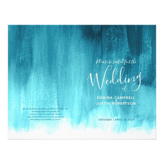 Teal aqua abstract art wedding program