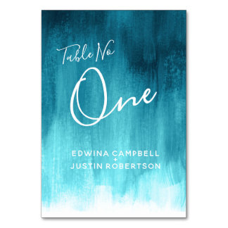 Teal aqua abstract sea modern art table number one