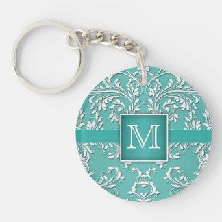 Teal Aqua and White Damask Monogram Keychain
