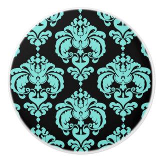 Teal Aqua & Black Damask Elegant Bedroom Dresser Ceramic Knob