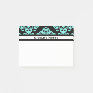 Teal Aqua Black Damask Pattern Modern Personalized Post-it Notes