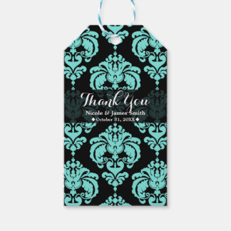 Teal Aqua Black Damask Vintage Wedding Event Favor Gift Tags