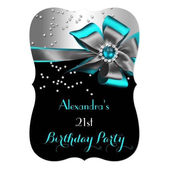 Teal Aqua Black Silver Bow Pearl Birthday Party 2 Card