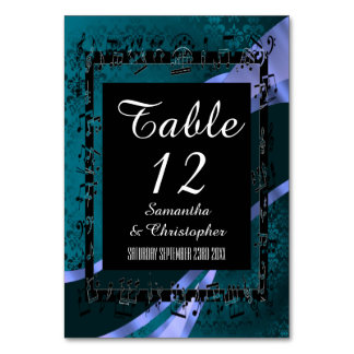 Teal aqua blue, black and personalized number card