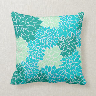 Teal Aqua Blue Green Flowers Floral Throw Pillow