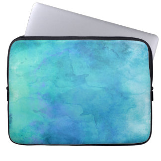 Teal Aqua Blue Teal Watercolor Texture Pattern Laptop Sleeve