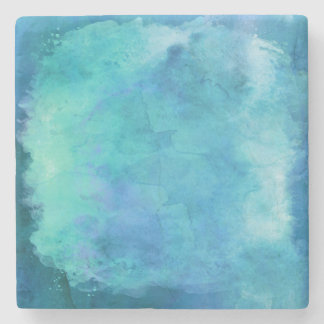 Teal Aqua Blue Teal Watercolor Texture Pattern Stone Beverage Coaster