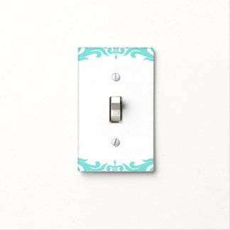 Teal Aqua Blue & White Glam Pattern Modern Chic Light Switch Cover