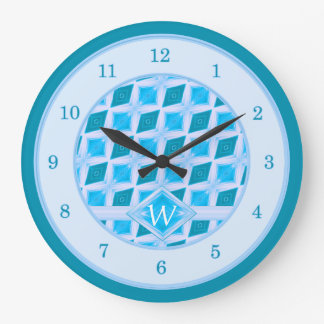 Teal Aqua Diamond Pattern Monogram Large Clock