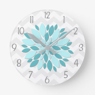 Teal Aqua Grey Dahlia Flower Nursery Wall Clock