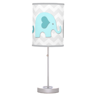 Teal Aqua Grey Elephant Nursery Lamp