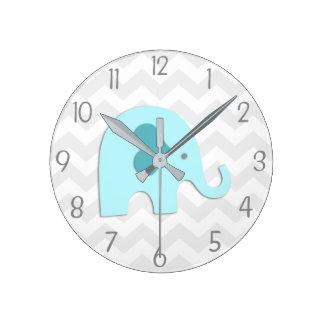 Teal Aqua Grey Elephant Nursery Wall Clock