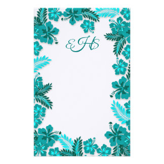 Teal Aqua Hibiscus Border Monogrammed Blank Paper