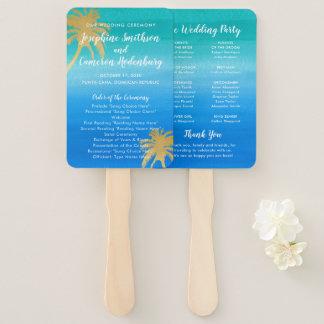 Teal & Aqua Ombre Palm Beach Wedding Program Hand Fan