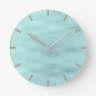 Teal Aqua Silver Gray Minimal Metallic Stripes Round Clock