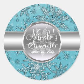 Teal Aqua Snowflakes Winter Wonderland Party Classic Round Sticker