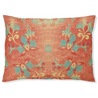 Teal, Aqua, Tangerine, Orange Abstract Floral Large Dog Bed