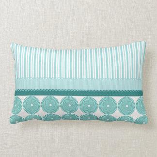 Teal Aqua Turquoise Blue Stripes Circles Pattern Lumbar Pillow