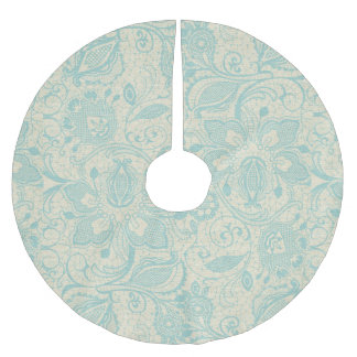 Teal Aqua Turquoise Floral Lace Tree Skirt Brushed Polyester Tree Skirt
