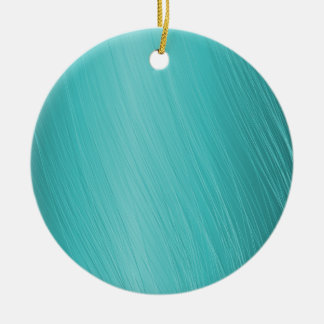 teal, aqua, turquoise, scratched pattern round ceramic ornament