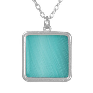 teal, aqua, turquoise, scratched pattern silver plated necklace