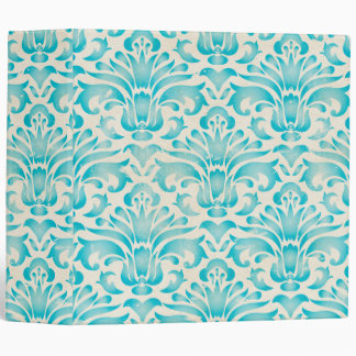 Teal Aqua Watercolor Damask Ombre Blue Print 3 Ring Binders