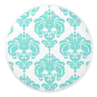Teal Aqua White Damask Elegant Bedroom Dresser Ceramic Knob
