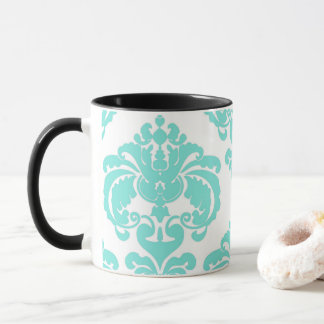 Teal Aqua & White Elegant Chic Damask Pattern Mug