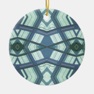 Teal Aquamarine Contemporary Linear Art Round Ceramic Ornament