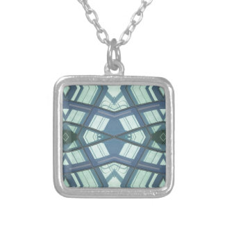 Teal Aquamarine Contemporary Linear Art Silver Plated Necklace