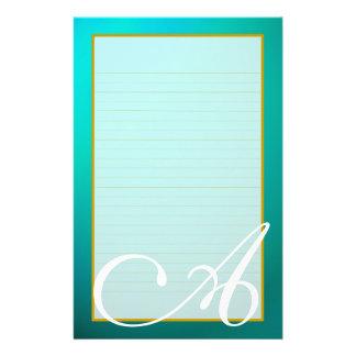 Teal Aquamarine Monogram Fine Lined Stationery