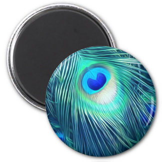Teal Aquamarine Peacock Feather 2 Inch Round Magnet