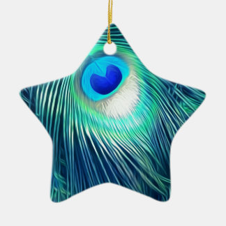 Teal Aquamarine Peacock Feather Ceramic Star Ornament