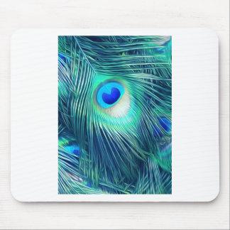 Teal Aquamarine Peacock Feather Mouse Pad