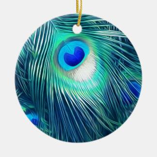 Teal Aquamarine Peacock Feather Round Ceramic Ornament