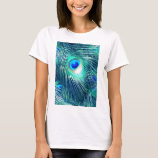 Teal Aquamarine Peacock Feather T-Shirt