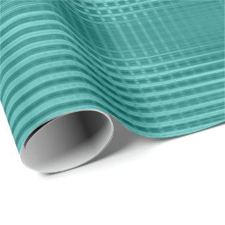 Teal Aquatic Metallic Grill Stripes Mint Green Wrapping Paper
