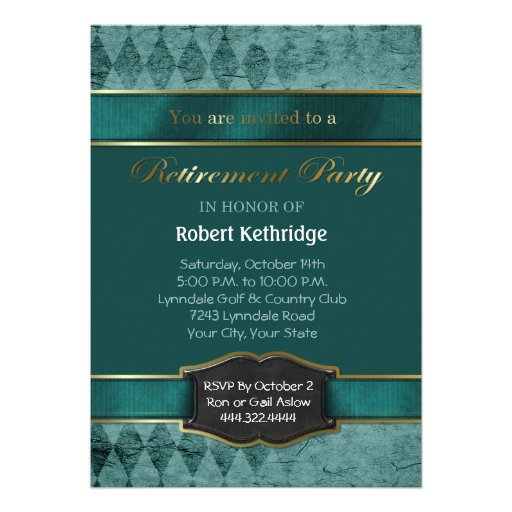 Teal Argyle Classic Retirement Party Invitations Custom Invite