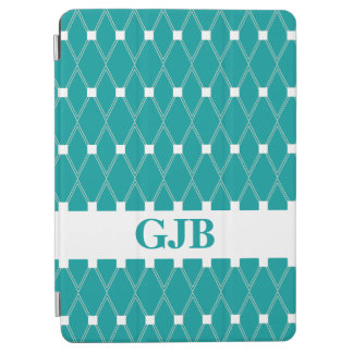Teal Argyle Lattice with monogram iPad Air Cover