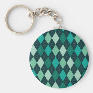 Teal argyle pattern basic round button keychain