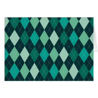 Teal argyle pattern card