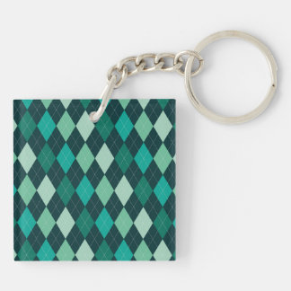 Teal argyle pattern Double-Sided square acrylic keychain