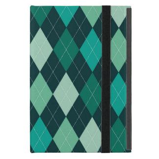 Teal argyle pattern iPad mini case