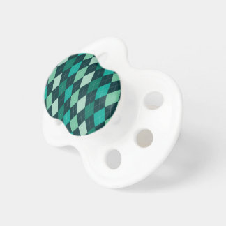 Teal argyle pattern pacifiers