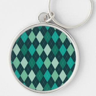 Teal argyle pattern Silver-Colored round keychain