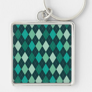 Teal argyle pattern Silver-Colored square keychain