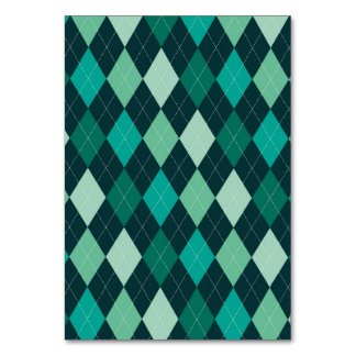 Teal argyle pattern table cards